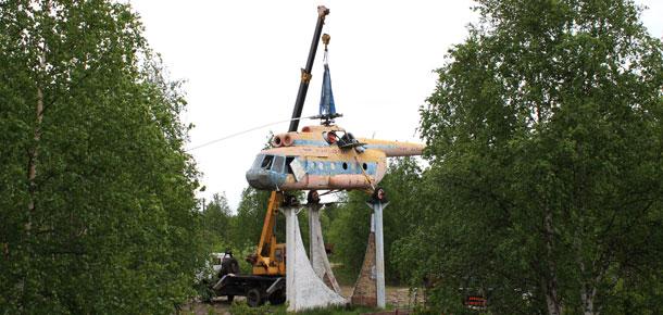 В Печоре памятник-вертолет снят на реставрацию