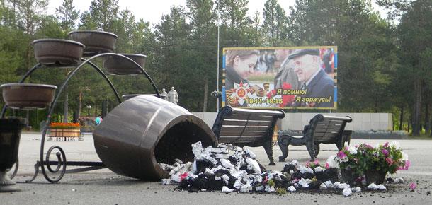 Очередной акт вандализма произошел сегодня в Печоре