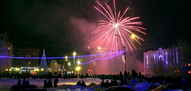 Новогодний фейерверк в Печоре